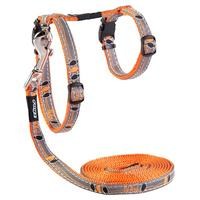 Rogz - Catz 11mm NightCat Reflective Cat Lead and H-Harness Combination (Orange Birds on Wire Design)