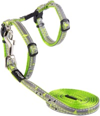 Rogz - Catz 11mm NightCat Reflective Cat Lead and H-Harness Combination (Lime Swallows Design) - Cover