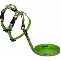 Rogz - Catz ReflectoCat 8mm Extra Small Reflective Cat H-Harness and Lead Combination (Lime Fish Design)