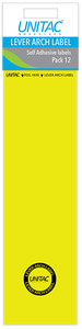 Unitac - Lever Arch Labels - Yellow Pack of 12 (Box of 10) - Cover