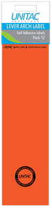 Unitac - Lever Arch Labels - Orange Pack of 12 (Box of 10) - Cover