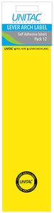Unitac - Lever Arch Labels - Neon Yellow Pack of 12 (Box of 10) - Cover