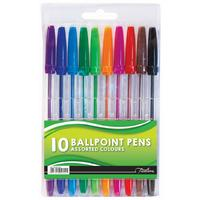 Treeline - 10 Ballpoint Pens Assorted Colours (pack of 6)