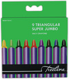 Treeline - Triangular Jumbo Wax Crayons 9 Piece Set (Box of 12)
