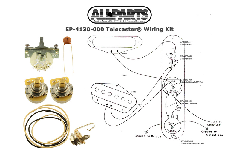 Allparts Electric Guitar Wiring Kit for Fender Telecaster or Similar on