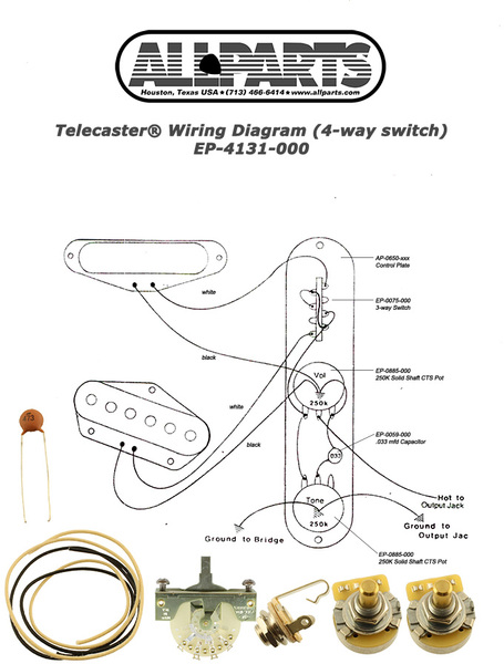 allparts electric guitar wiring kit for fender telecaster or similar  guitars with 4-way pickup