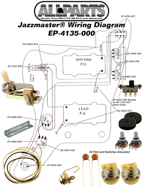 Superb Allparts Electric Guitar Wiring Kit For Fender Jazzmaster Raru Wiring Digital Resources Indicompassionincorg