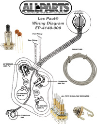 allparts electric guitar wiring kit for gibson les paul or similar guitars raru. Black Bedroom Furniture Sets. Home Design Ideas