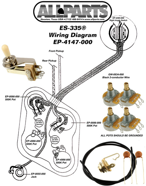 Allparts Electric Guitar Wiring Kit for Gibson ES-335 Guitars on