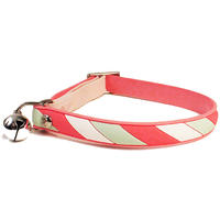 Cat's Life - Non Toxic PVC Candy Stripe Cat Collar - Pink (Medium)