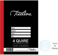 Treeline - 4 Quire A4 384 pg Hard Cover Book - Feint & Margin - Cover