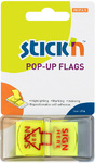 Stick'n - Pop-Up Sign Here  Printed Flags 45x25mm Neon Lemon (Box of 12)