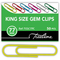 Treeline - 77mm PVC Coated Assorted colour Gem Clips 50's (Box of 10)