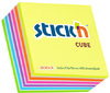 Stick'n - 76 x 76 Adhesive Notes Neon Cube with white Stripes (400 sheets per pad)