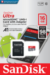 Sandisk Ultra Android MicroSDHC 16GB + SD Adapter - 98MB/s A1 Class 10 UHS-I