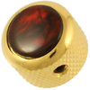 Q-Parts Guitar 14.6mm Tall Acrylic Red Pearl Mini Dome Control Knob with Set Screw (Gold)