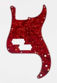 Allparts Bass Guitar 13-Hole 3-Ply Pickgaurd for Fender Precision Bass Style Guitars (Vintage Red Tortoise Shell) - Cover