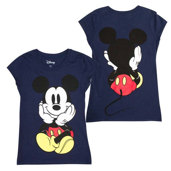 Large Mouse Shirtx Tee Mickey Back Women's Blue Front And TlKJFc13