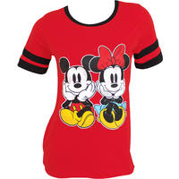 Mickey And Minnie Women's Red Jersey  T-Shirt (Small)