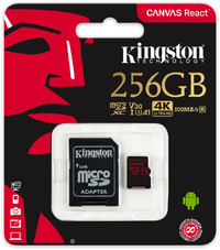 Kingston Technology - Canvas React 256GB microSDXC 100R/80W U3 UHS-I V30 A1 Memory Card - Cover