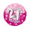 Anagram - 18 inch Holo Everts Foil Balloon - Pink - 21st Birthday Cover