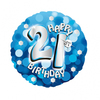 Anagram - 18 inch Holo Everts Foil Balloon - Blue - 21st Birthday Cover