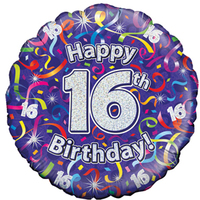 Oaktree - 18 inch Foil Balloon - 16th Birthday Streamers Holographic - Cover