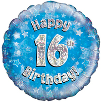 Oaktree - 18 inch Foil Balloon - Happy 16th Birthday Blue Holographic - Cover