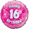 Oaktree - 18 inch Foil Balloon - Happy 16th Birthday Pink Holographic