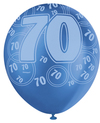 Unique Party - 12 inch Latex Balloon - 70th Birthday - Blue Cover