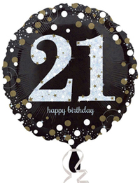 Anagram - 18 inch Circle Foil Balloon - Sparkling Birthday 21 - Cover