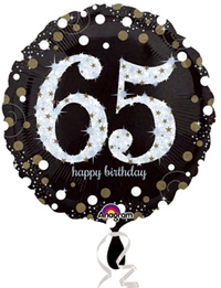 Anagram - 18 inch Circle Foil Balloon - Sparkling Birthday 65 - Cover