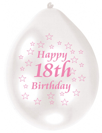 Amscan - Minipax Balloons - 18th Birthday - Pink/White (Pack of 10) - Cover
