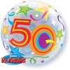 Qualatex - 22 inch Single Bubble Balloon - 50th Birthday - Brilliant Stars