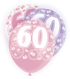 Unique Party - 12 inch Latex Balloon - 60 - Pink (Pack of 6)