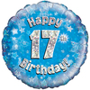 Oaktree - 18 inch Foil Balloon - Happy 17th Birthday - Blue - Holographic