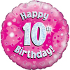 Oaktree - 18 inch Foil Balloon - Happy 10th Birthday - Pink - Holographic