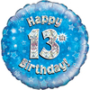 Oaktree - 18 inch Foil Balloon - Happy 13th Birthday - Blue - Holographic