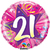 Qualatex - 18 inch Round Foil Balloon - 21 Shining Star Hot Pink Cover
