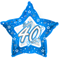 Creative Party - 18 inch Blue Star Balloon - Age 40 - Cover