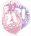 Unique Party - 12 inch Latex Balloon - 21 - Pink (Pack of 6)