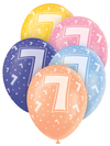 Unique Party - 12 inch Latex Balloon - Age 7 (Pack of 5)
