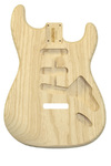 Allparts Electric Guitar Swamp Ash Unfinished Replacement Body for Fender Stratocaster Style Guitars with SSS and Tremolo Routing (Natural)