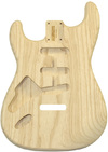 Allparts Left-Handed Electric Guitar Swamp Ash Unfinished Replacement Body for Fender Stratocaster Style Guitars with SSS and Tremolo Routing (Natural)