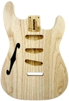 Allparts Electric Guitar Swamp Ash Unfinished Replacement Semi Hollow Body for Fender Stratocaster Thinline Style Guitars with SSS and Tremolo Routing (Natural)