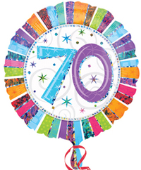Anagram - 18 inch Circle Foil Balloon - Prismatic Radiant - 70th Birthday - Cover