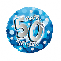 Anagram - 18 inch Holo Everts Foil Balloon - 50th Birthday - Blue - Cover