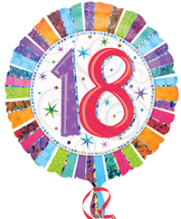 Anagram - 18 inch Circle Foil Balloon - Prismatic Radiant Birthday 18 - Cover