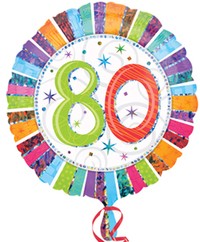 Anagram - 18 inch Circle Foil Balloon - Prismatic Radiant Birthday 80 - Cover