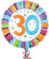 Anagram - 18 inch Circle Foil Balloon - Prismatic Radiant Birthday 30 Cover